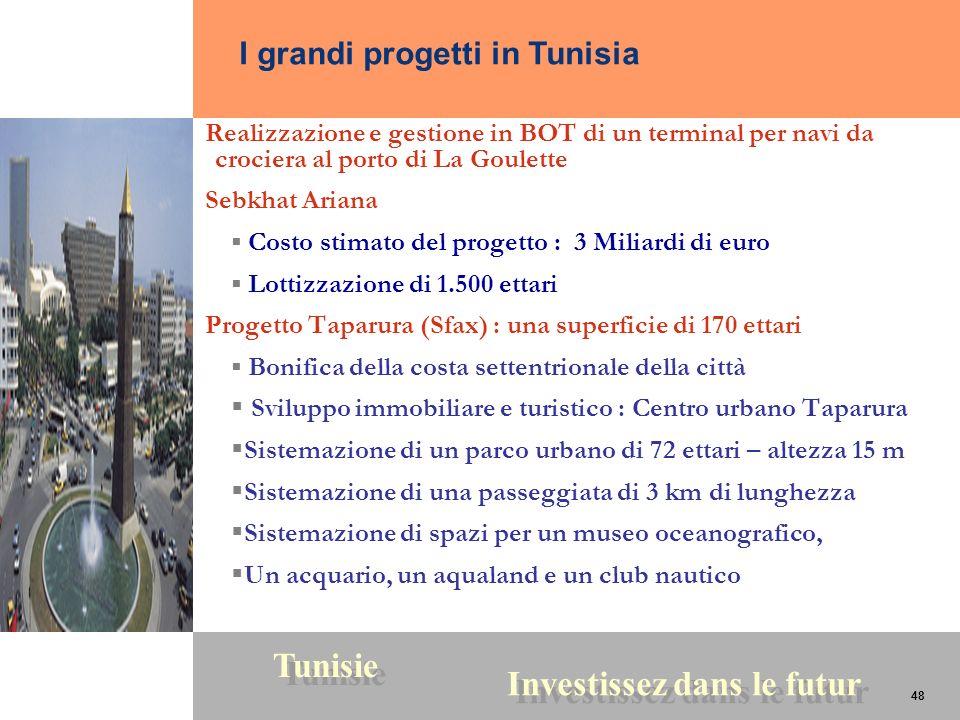 48 Tunisie Investissez dans le futur 48 Realizzazione e gestione in BOT di un terminal per navi da crociera al porto di La Goulette Sebkhat Ariana Cos