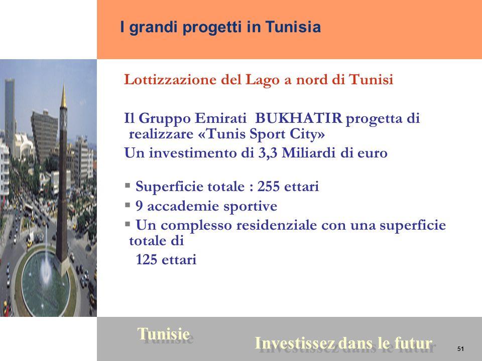 51 Tunisie Investissez dans le futur 51 Lottizzazione del Lago a nord di Tunisi Il Gruppo Emirati BUKHATIR progetta di realizzare «Tunis Sport City» U