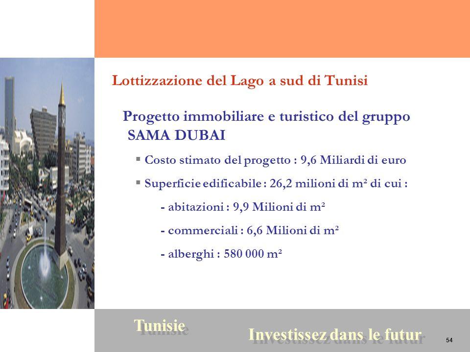54 Tunisie Investissez dans le futur 54 Lottizzazione del Lago a sud di Tunisi Progetto immobiliare e turistico del gruppo SAMA DUBAI Costo stimato de