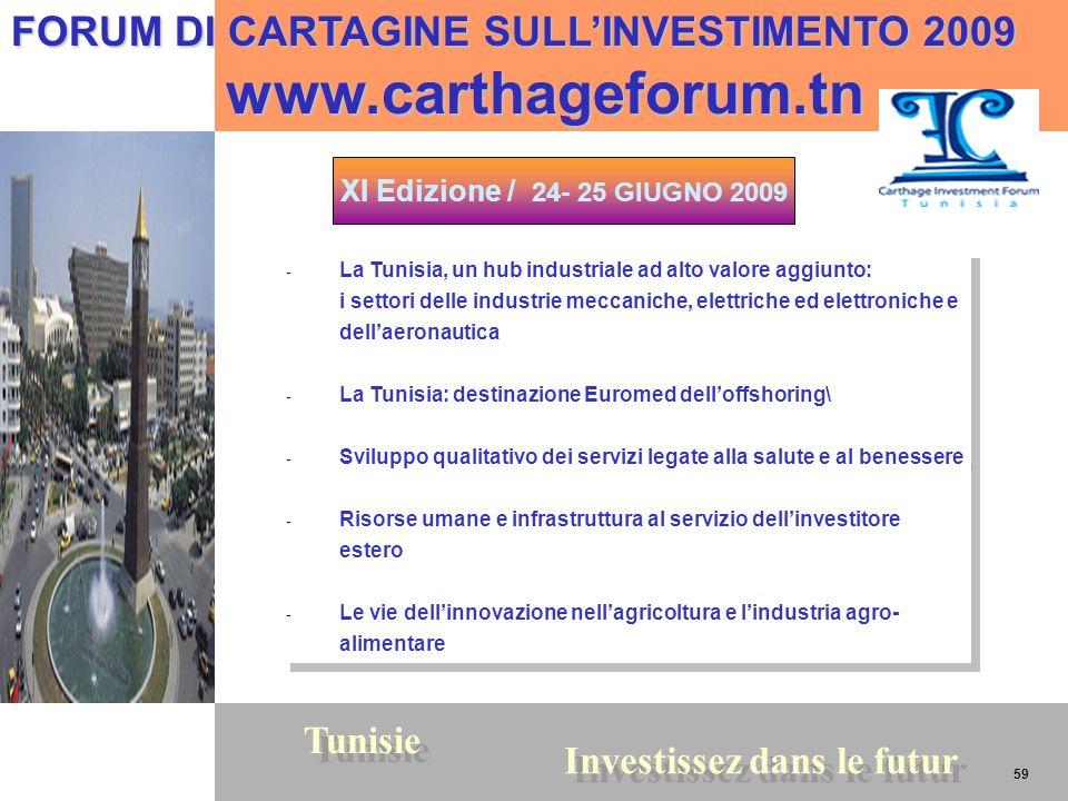 59 Tunisie Investissez dans le futur 59 FORUM DI CARTAGINE SULLINVESTIMENTO 2009 www.carthageforum.tn www.carthageforum.tn XI Edizione / 24- 25 GIUGNO