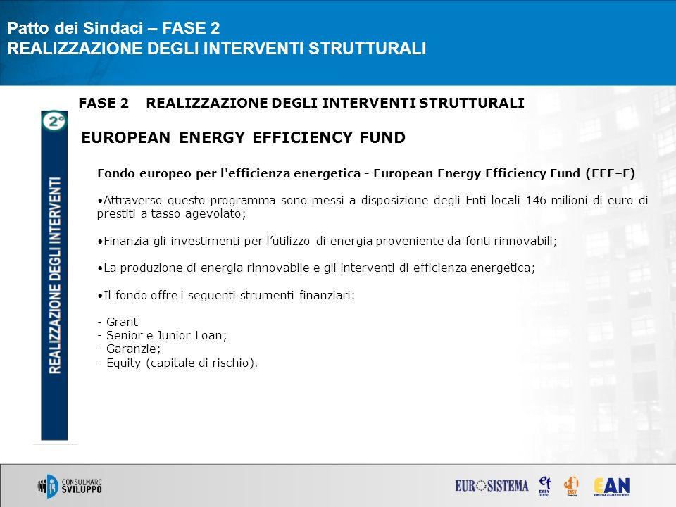 FASE 2REALIZZAZIONE DEGLI INTERVENTI STRUTTURALI EUROPEAN ENERGY EFFICIENCY FUND Patto dei Sindaci – FASE 2 REALIZZAZIONE DEGLI INTERVENTI STRUTTURALI Fondo europeo per l efficienza energetica - European Energy Efficiency Fund (EEE–F) Attraverso questo programma sono messi a disposizione degli Enti locali 146 milioni di euro di prestiti a tasso agevolato; Finanzia gli investimenti per lutilizzo di energia proveniente da fonti rinnovabili; La produzione di energia rinnovabile e gli interventi di efficienza energetica; Il fondo offre i seguenti strumenti finanziari: - Grant - Senior e Junior Loan; - Garanzie; - Equity (capitale di rischio).