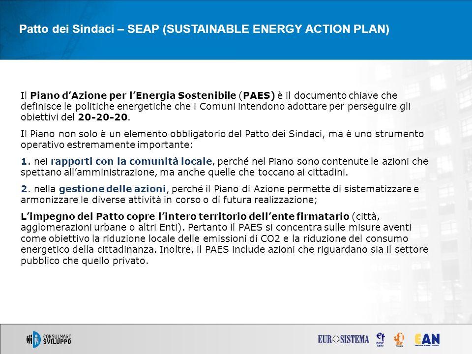 Patto dei Sindaci – SEAP (SUSTAINABLE ENERGY ACTION PLAN) Il Piano dAzione per lEnergia Sostenibile (PAES) è il documento chiave che definisce le politiche energetiche che i Comuni intendono adottare per perseguire gli obiettivi del 20-20-20.