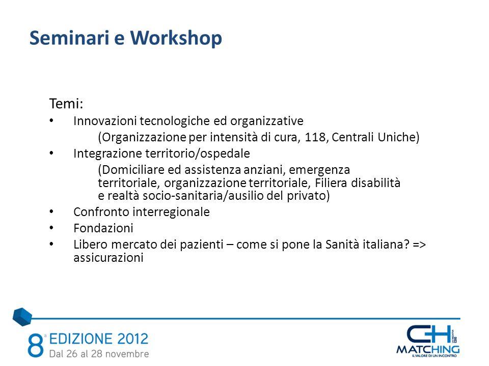 Temi: Innovazioni tecnologiche ed organizzative (Organizzazione per intensità di cura, 118, Centrali Uniche) Integrazione territorio/ospedale (Domicil