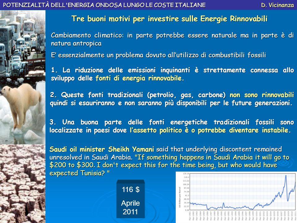 POTENZIALITÀ DELL'ENERGIA ONDOSA LUNGO LE COSTE ITALIANE D. Vicinanza Cambiamento climatico: in parte potrebbe essere naturale ma in parte è di natura