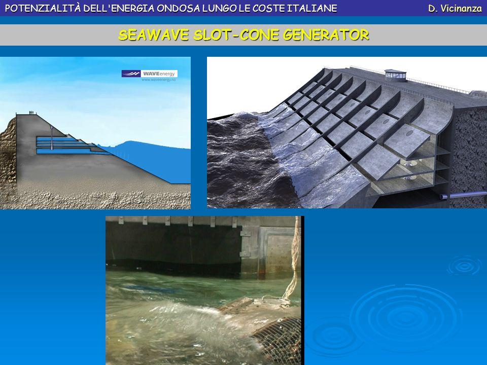 POTENZIALITÀ DELL'ENERGIA ONDOSA LUNGO LE COSTE ITALIANE D. Vicinanza SEAWAVE SLOT-CONE GENERATOR