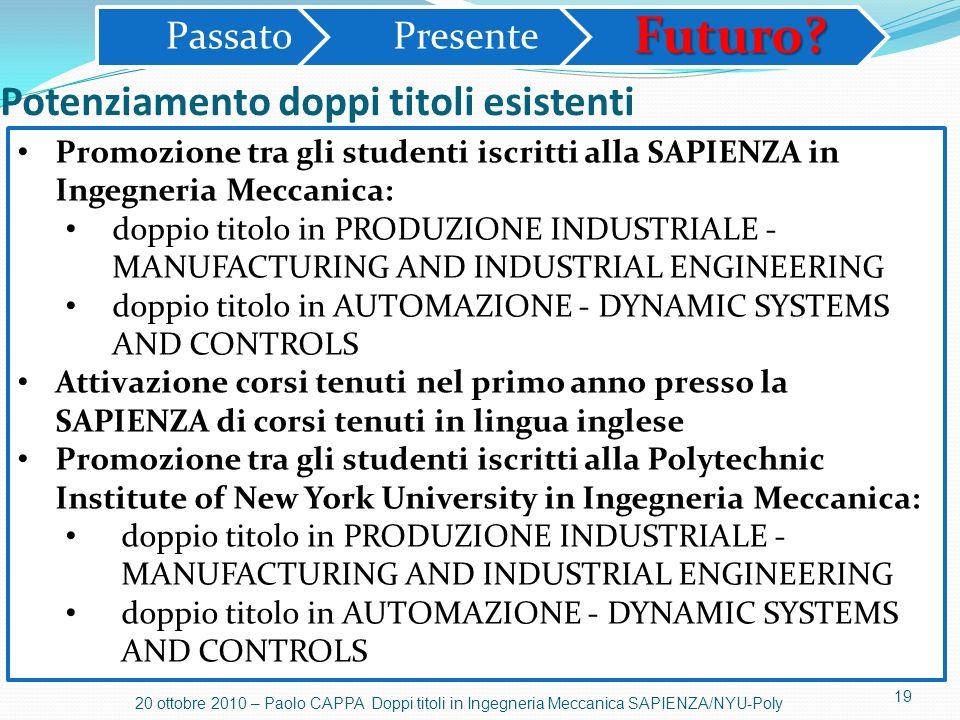 19 20 ottobre 2010 – Paolo CAPPA Doppi titoli in Ingegneria Meccanica SAPIENZA/NYU-Poly Potenziamento doppi titoli esistenti PassatoPresenteFuturo? Pr