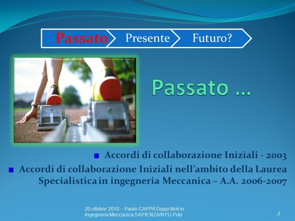 Accordi di collaborazione Iniziali - 2003 Accordi di collaborazione Iniziali nellambito della Laurea Specialistica in ingegneria Meccanica – A.A. 2006