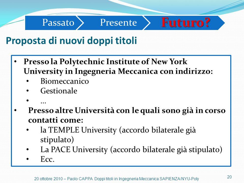 20 20 ottobre 2010 – Paolo CAPPA Doppi titoli in Ingegneria Meccanica SAPIENZA/NYU-Poly Proposta di nuovi doppi titoli PassatoPresenteFuturo? Presso l