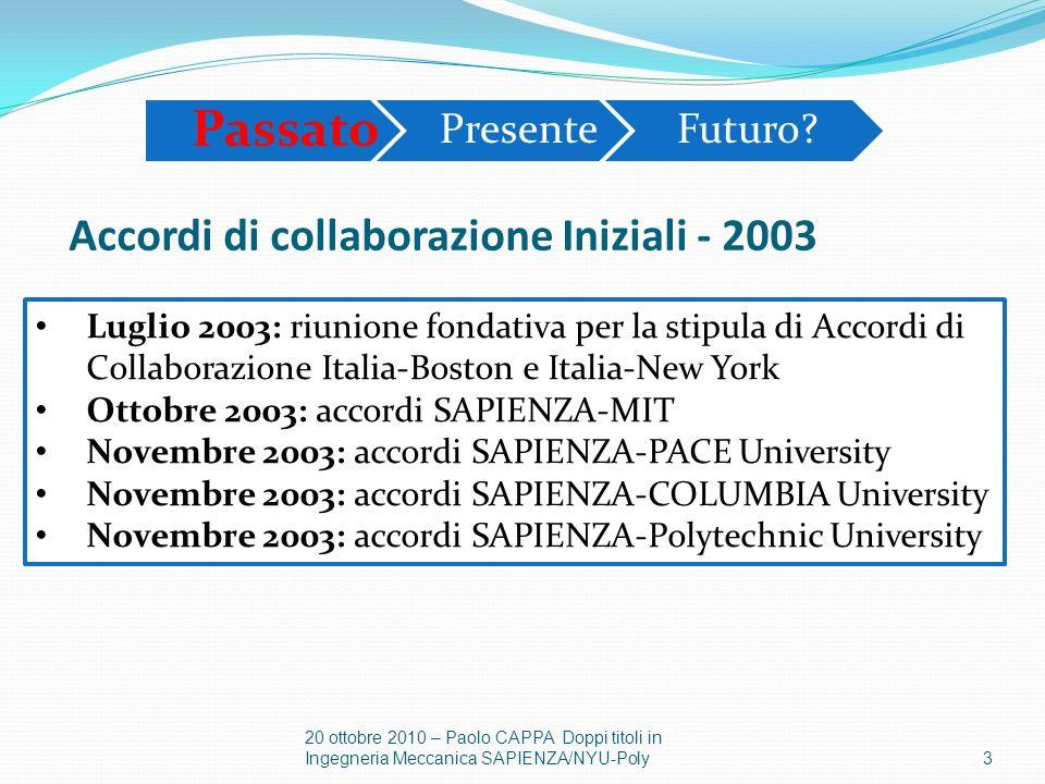 Luglio 2003: riunione fondativa per la stipula di Accordi di Collaborazione Italia-Boston e Italia-New York Ottobre 2003: accordi SAPIENZA-MIT Novembr