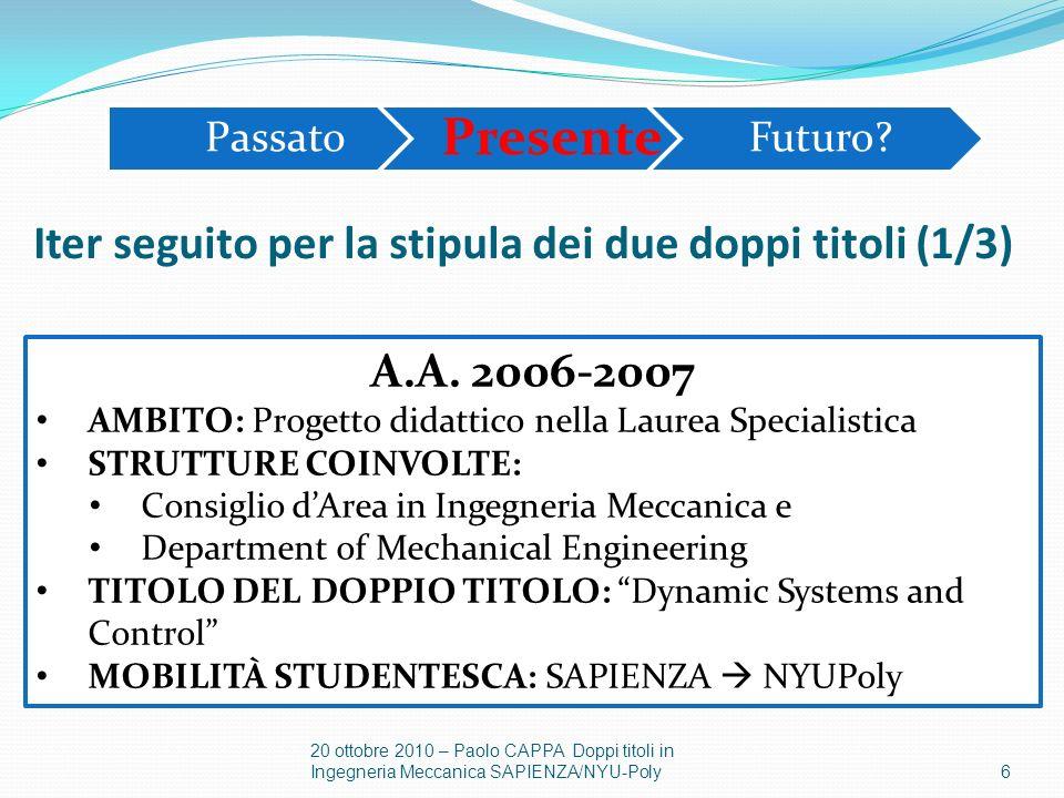 7 20 ottobre 2010 – Paolo CAPPA Doppi titoli in Ingegneria Meccanica SAPIENZA/NYU-Poly A.A.