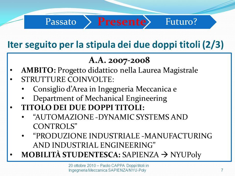 7 20 ottobre 2010 – Paolo CAPPA Doppi titoli in Ingegneria Meccanica SAPIENZA/NYU-Poly A.A. 2007-2008 AMBITO: Progetto didattico nella Laurea Magistra
