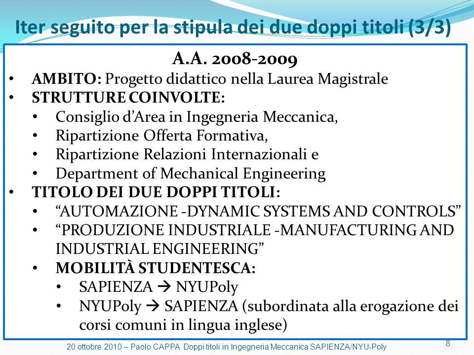 8 20 ottobre 2010 – Paolo CAPPA Doppi titoli in Ingegneria Meccanica SAPIENZA/NYU-Poly A.A. 2008-2009 AMBITO: Progetto didattico nella Laurea Magistra