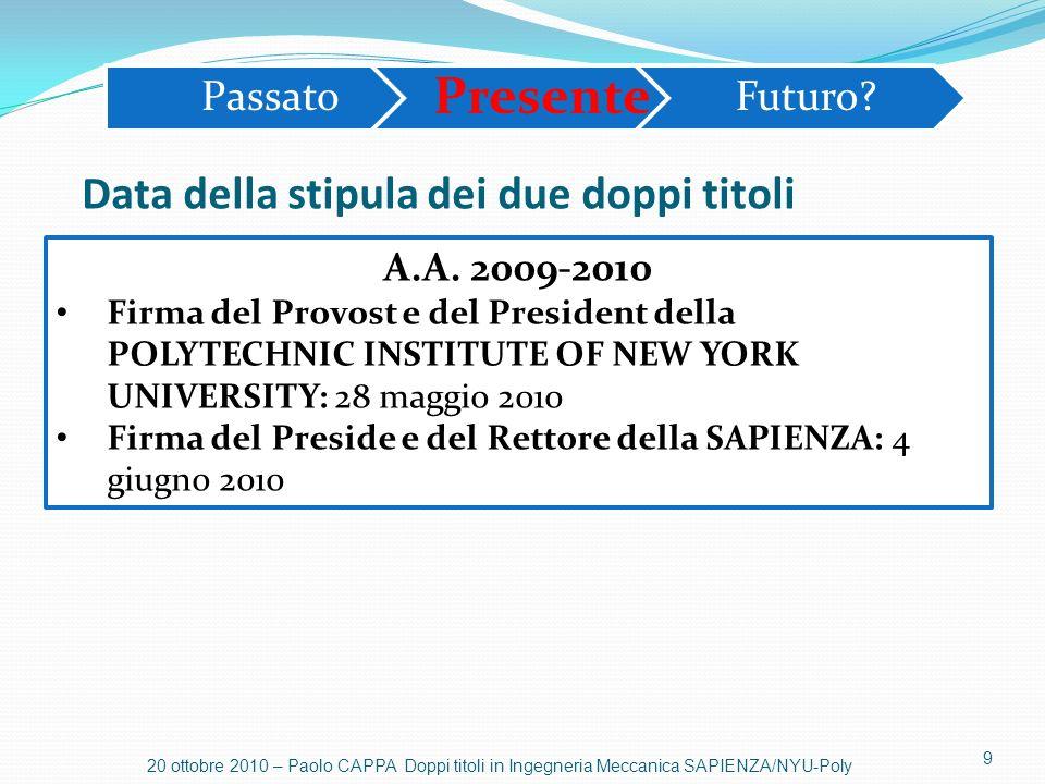 10 20 ottobre 2010 – Paolo CAPPA Doppi titoli in Ingegneria Meccanica SAPIENZA/NYU-Poly SCHEMA GENERALE PER I DUE DOPPI TITOLI: STUDENTE ISCRITTO AL PRIMO ANNO ALLA SAPIENZA Passato Presente Futuro.