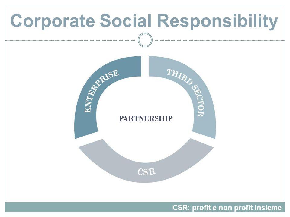 Corporate Social Responsibility CSR: profit e non profit insieme PARTNERSHIP