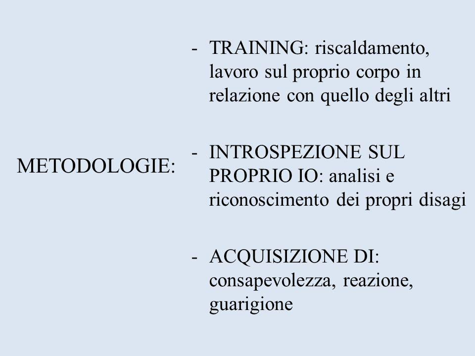 METODOLOGIE: -TRAINING: riscaldamento, lavoro sul proprio corpo in relazione con quello degli altri -INTROSPEZIONE SUL PROPRIO IO: analisi e riconosci