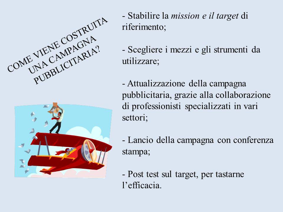 COME VIENE COSTRUITA UNA CAMPAGNA PUBBLICITARIA? - Stabilire la mission e il target di riferimento; - Scegliere i mezzi e gli strumenti da utilizzare;