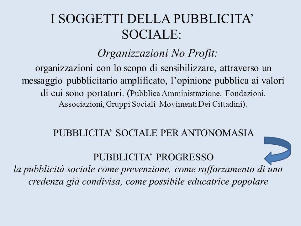 Organizzazioni No Profit: organizzazioni con lo scopo di sensibilizzare, attraverso un messaggio pubblicitario amplificato, lopinione pubblica ai valo