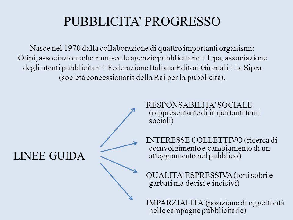 PUBBLICITA PROGRESSO Nasce nel 1970 dalla collaborazione di quattro importanti organismi: Otipi, associazione che riunisce le agenzie pubblicitarie +