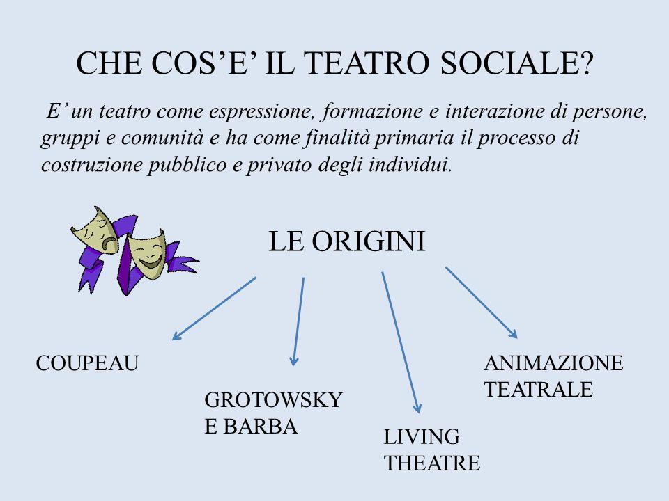 CHE COSE IL TEATRO SOCIALE? E un teatro come espressione, formazione e interazione di persone, gruppi e comunità e ha come finalità primaria il proces