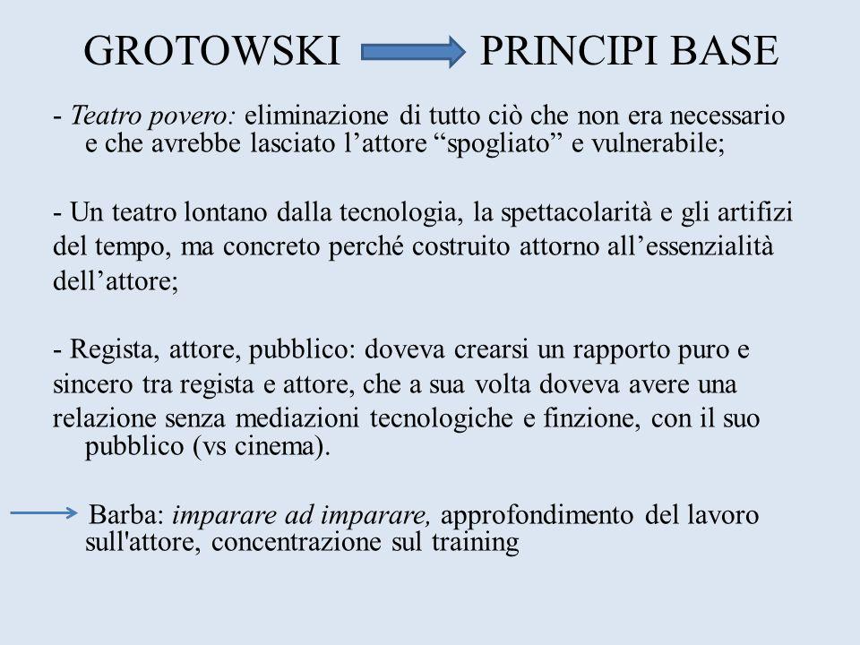 GROTOWSKI PRINCIPI BASE - Teatro povero: eliminazione di tutto ciò che non era necessario e che avrebbe lasciato lattore spogliato e vulnerabile; - Un