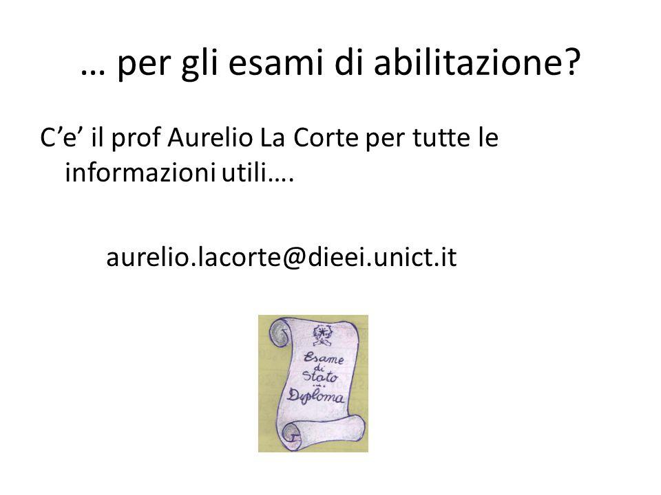 … per gli esami di abilitazione? Ce il prof Aurelio La Corte per tutte le informazioni utili…. aurelio.lacorte@dieei.unict.it