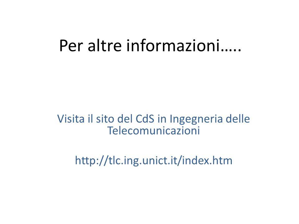 Per altre informazioni….. Visita il sito del CdS in Ingegneria delle Telecomunicazioni http://tlc.ing.unict.it/index.htm