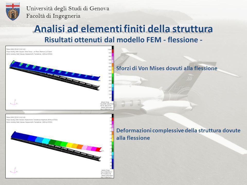 Università degli Studi di Genova Facoltà di Ingegneria Sforzi di Von Mises dovuti alla flessione Risultati ottenuti dal modello FEM - flessione - Deformazioni complessive della struttura dovute alla flessione Analisi ad elementi finiti della struttura
