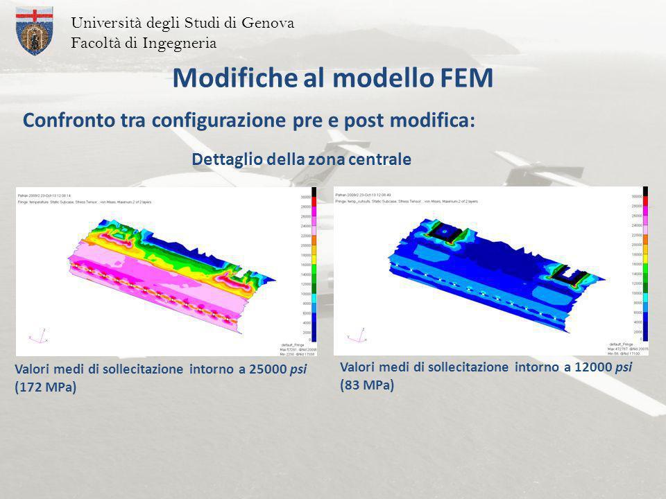 Università degli Studi di Genova Facoltà di Ingegneria Modifiche al modello FEM Confronto tra configurazione pre e post modifica: Valori medi di sollecitazione intorno a 25000 psi (172 MPa) Valori medi di sollecitazione intorno a 12000 psi (83 MPa) Dettaglio della zona centrale