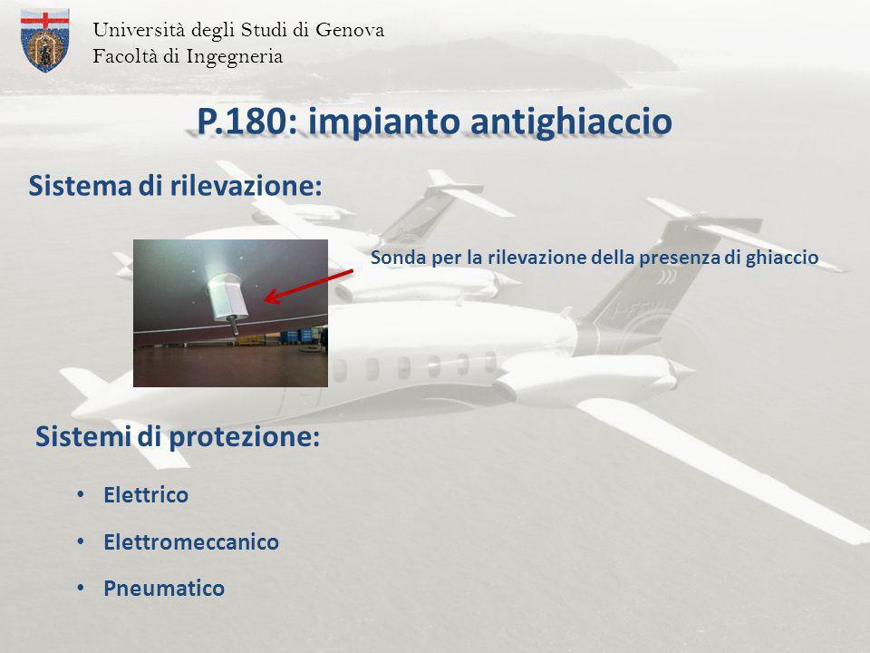 P.180: impianto antighiaccio Sistemi di protezione: Università degli Studi di Genova Facoltà di Ingegneria Sonda per la rilevazione della presenza di ghiaccio Sistema di rilevazione: Elettrico Elettromeccanico Pneumatico