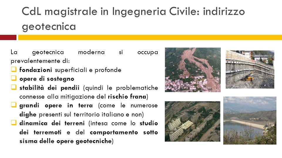 CdL magistrale in Ingegneria Civile: indirizzo geotecnica La geotecnica moderna si occupa prevalentemente di: fondazioni superficiali e profonde opere