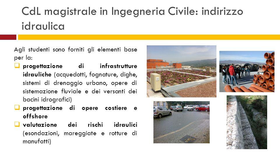 CdL magistrale in Ingegneria Civile: indirizzo idraulica Agli studenti sono forniti gli elementi base per la: progettazione di infrastrutture idraulic