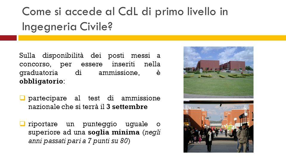 Come si accede al CdL di primo livello in Ingegneria Civile? Sulla disponibilità dei posti messi a concorso, per essere inseriti nella graduatoria di