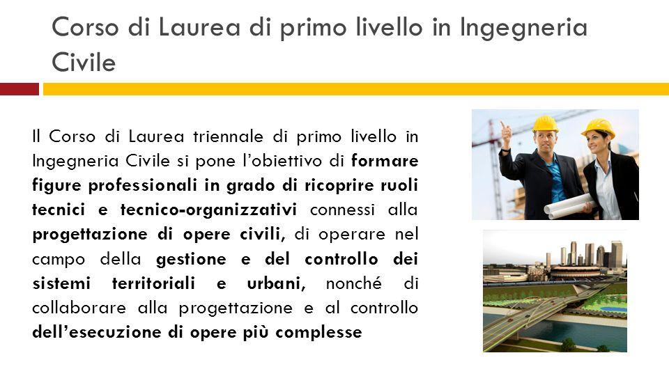 Corso di Laurea di primo livello in Ingegneria Civile Il Corso di Laurea triennale di primo livello in Ingegneria Civile si pone lobiettivo di formare