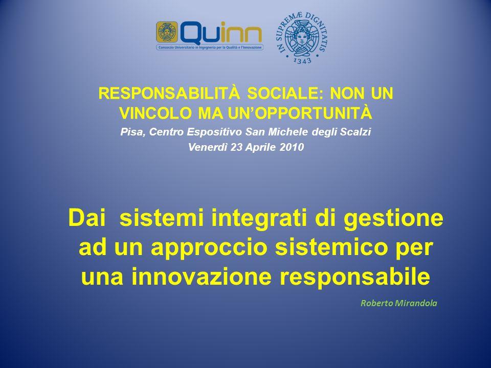 Dai sistemi integrati di gestione ad un approccio sistemico per una innovazione responsabile Roberto Mirandola RESPONSABILITÀ SOCIALE: NON UN VINCOLO