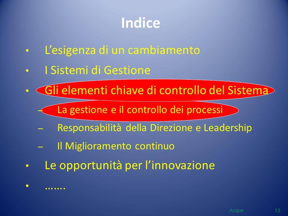 Indice Lesigenza di un cambiamento I Sistemi di Gestione Gli elementi chiave di controllo del Sistema – La gestione e il controllo dei processi – Resp