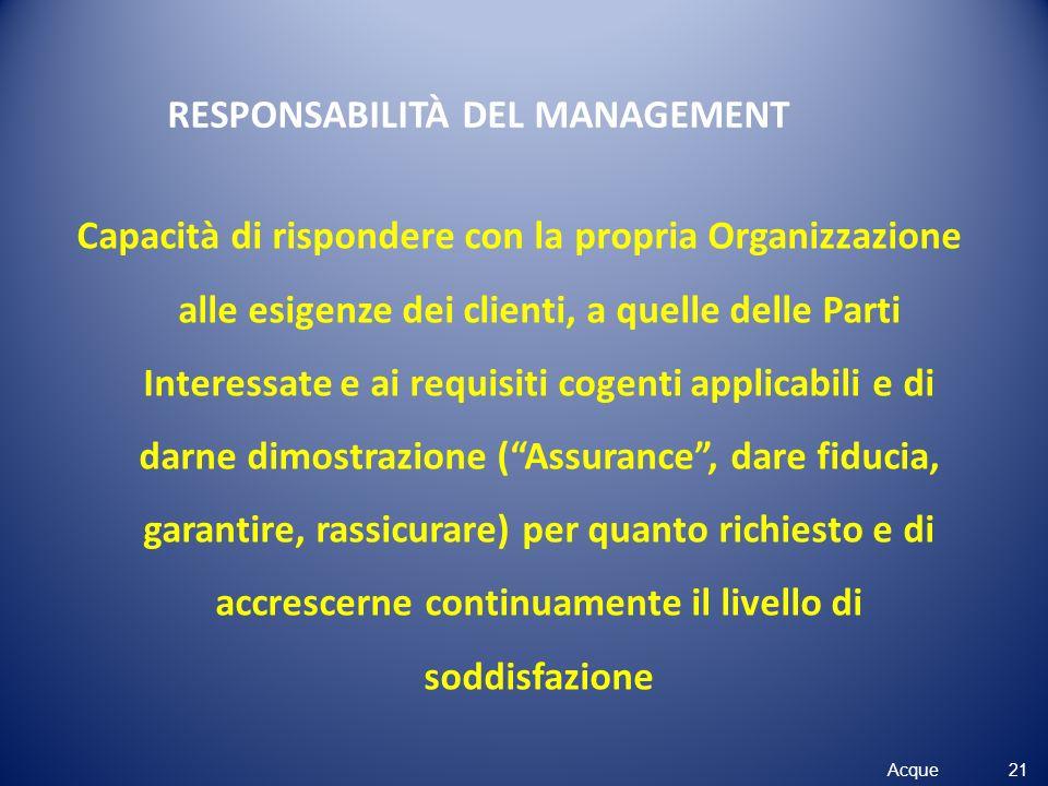 Acque RESPONSABILITÀ DEL MANAGEMENT Capacità di rispondere con la propria Organizzazione alle esigenze dei clienti, a quelle delle Parti Interessate e