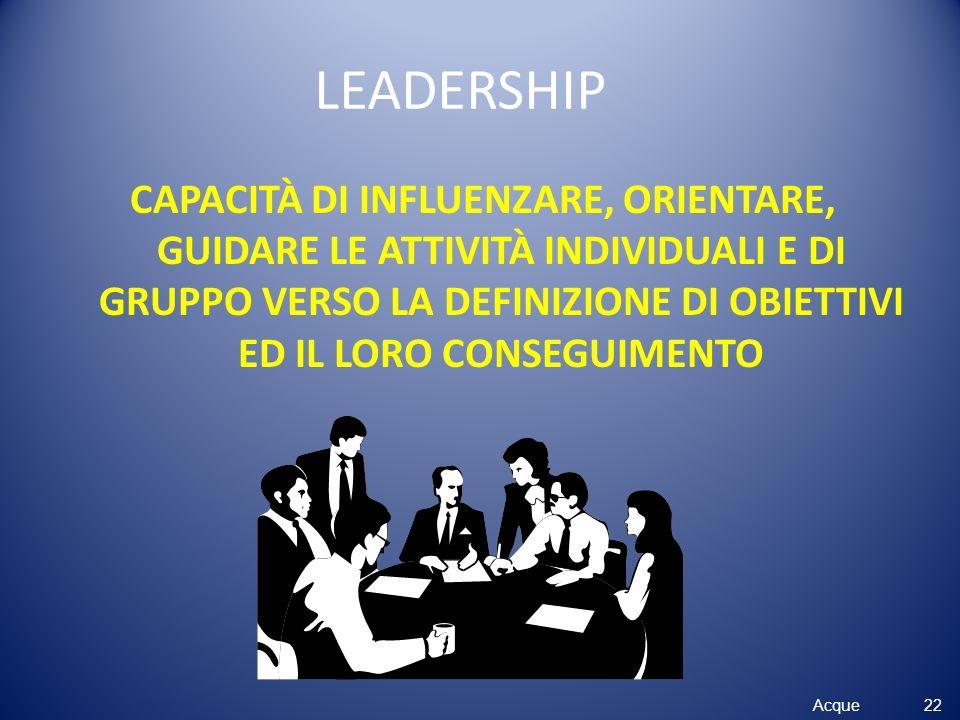 Acque LEADERSHIP CAPACITÀ DI INFLUENZARE, ORIENTARE, GUIDARE LE ATTIVITÀ INDIVIDUALI E DI GRUPPO VERSO LA DEFINIZIONE DI OBIETTIVI ED IL LORO CONSEGUI
