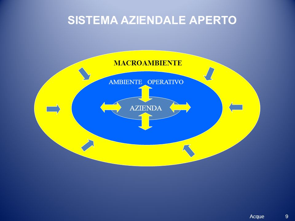 AZIENDA AMBIENTE OPERATIVO MACROAMBIENTE SISTEMA AZIENDALE APERTO 9 Acque