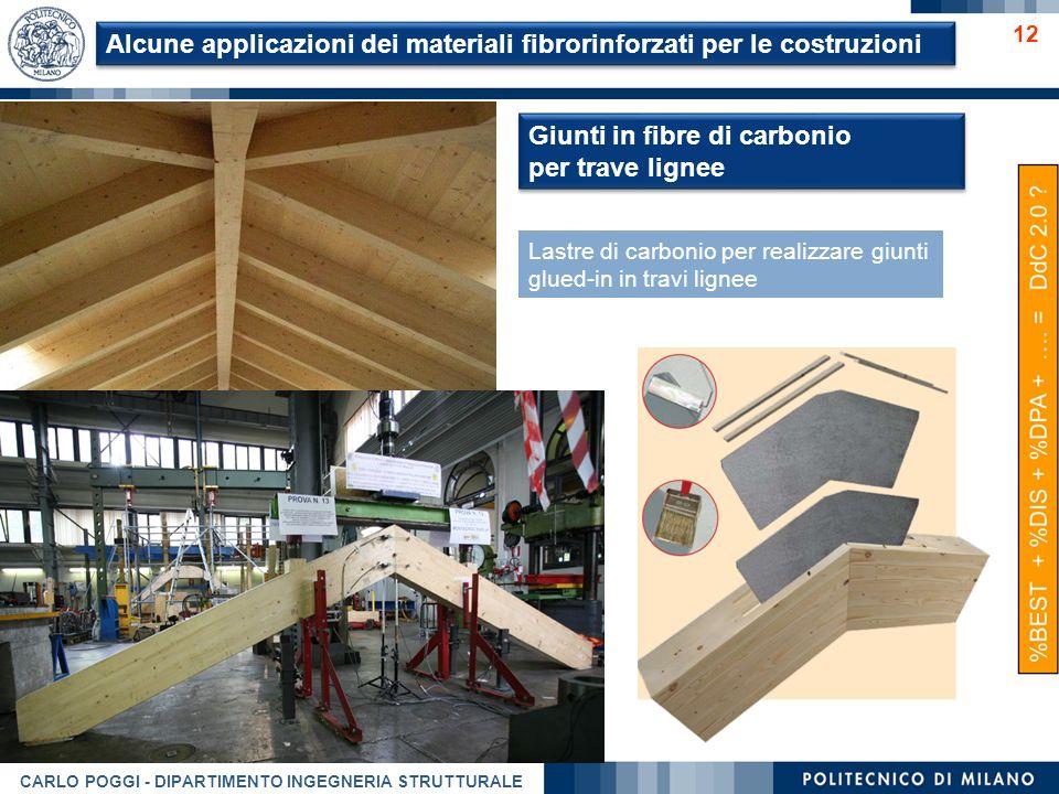 CARLO POGGI - DIPARTIMENTO INGEGNERIA STRUTTURALE 12 Giunti in fibre di carbonio per trave lignee Giunti in fibre di carbonio per trave lignee Lastre