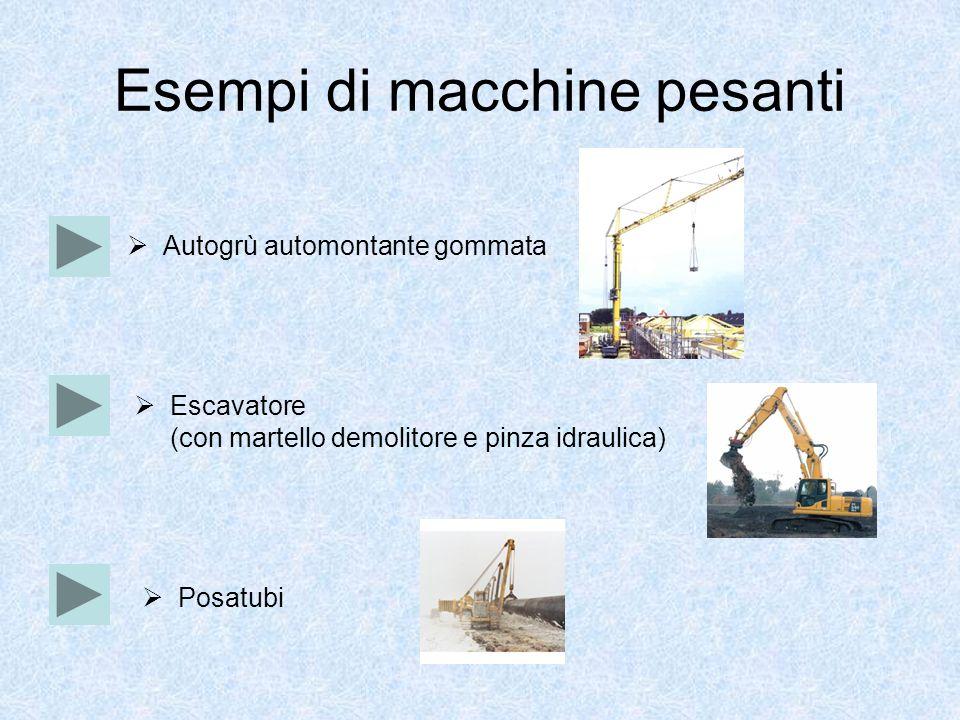 Esempi di macchine pesanti Escavatore (con martello demolitore e pinza idraulica) Autogrù automontante gommata Posatubi
