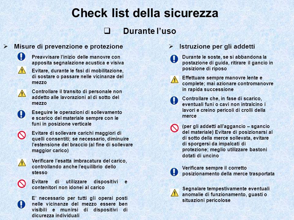 Check list della sicurezza Durante luso Misure di prevenzione e protezione Istruzione per gli addetti Preavvisare linizio delle manovre con apposita s
