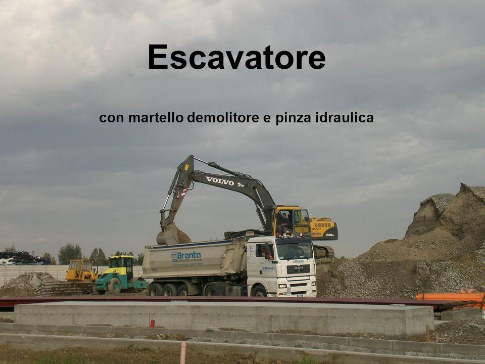 Escavatore con martello demolitore e pinza idraulica