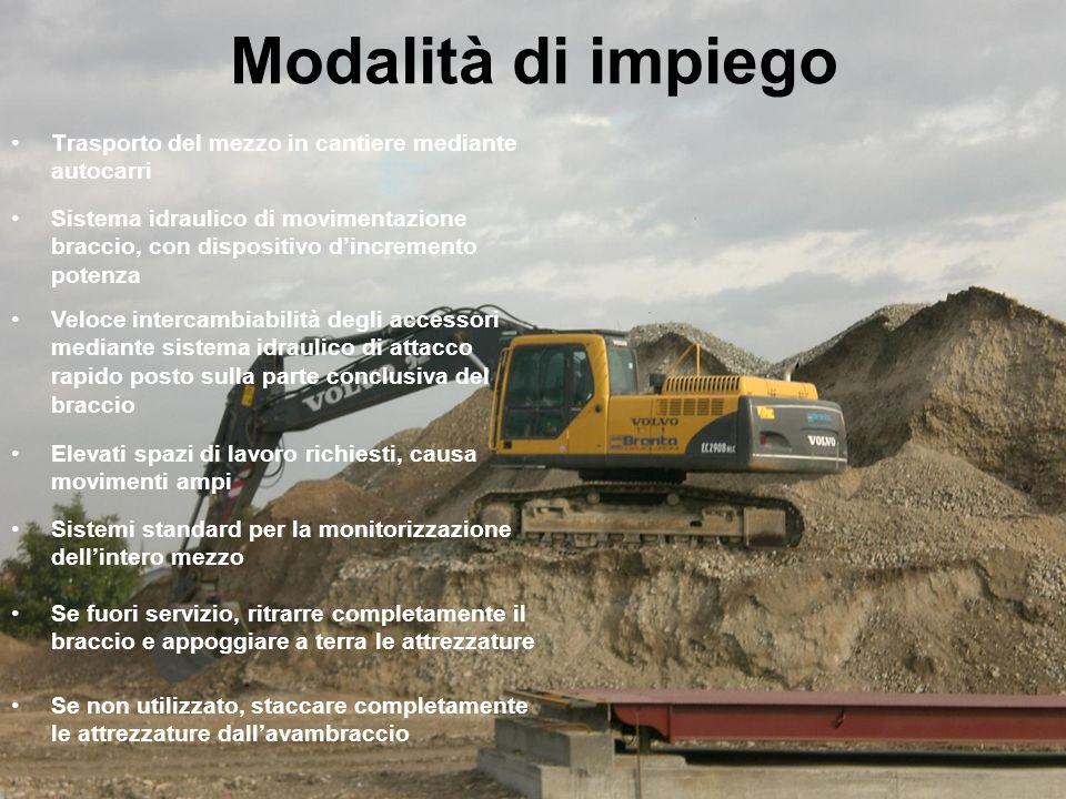 Modalità di impiego Trasporto del mezzo in cantiere mediante autocarri Sistema idraulico di movimentazione braccio, con dispositivo dincremento potenz