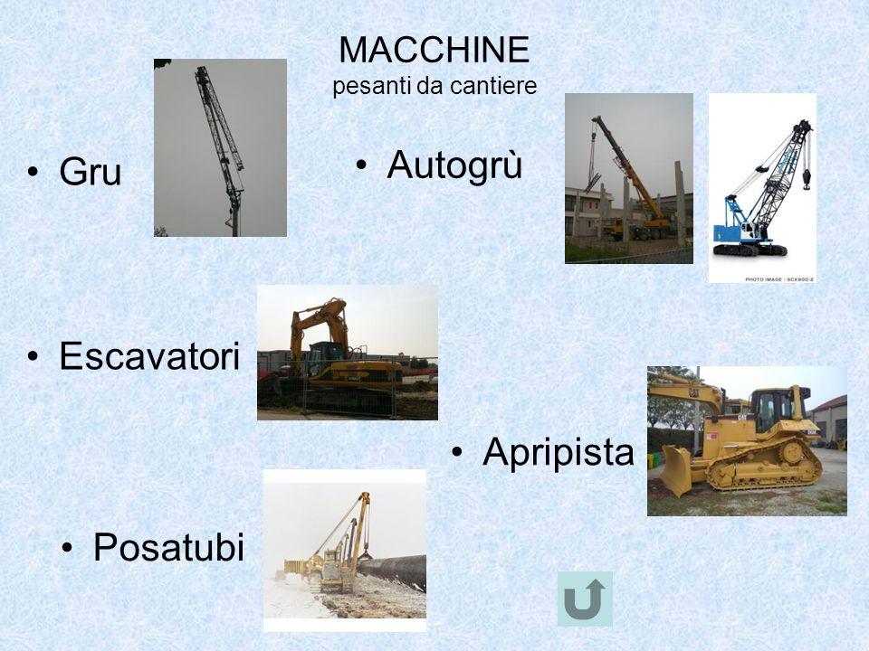 MACCHINE pesanti da cantiere Gru Autogrù Escavatori Apripista Posatubi