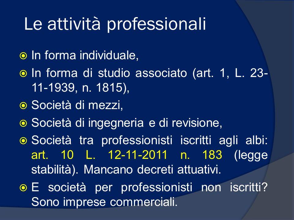 Le attività professionali In forma individuale, In forma di studio associato (art. 1, L. 23- 11-1939, n. 1815), Società di mezzi, Società di ingegneri