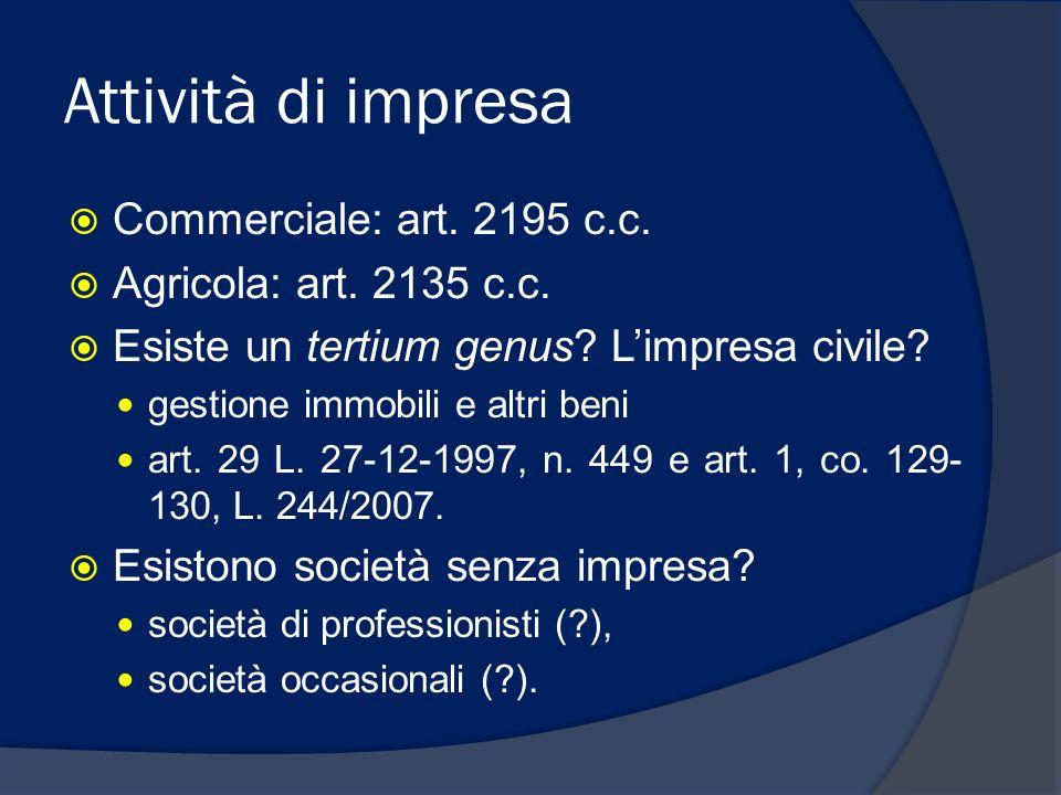 Attività di impresa Commerciale: art. 2195 c.c. Agricola: art. 2135 c.c. Esiste un tertium genus? Limpresa civile? gestione immobili e altri beni art.