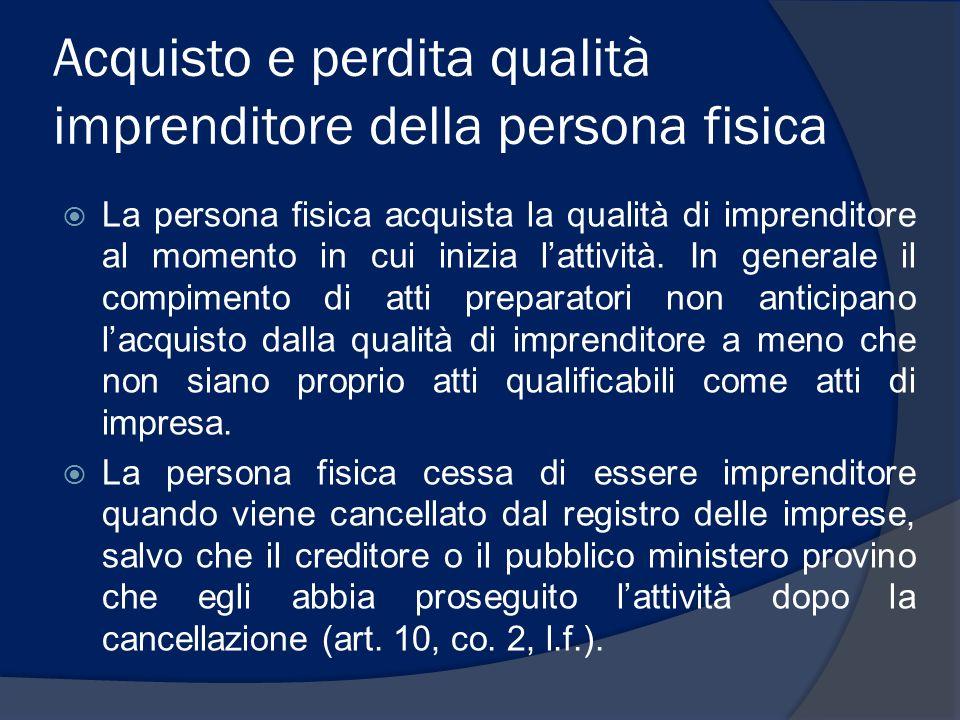 Acquisto e perdita qualità imprenditore della persona fisica La persona fisica acquista la qualità di imprenditore al momento in cui inizia lattività.