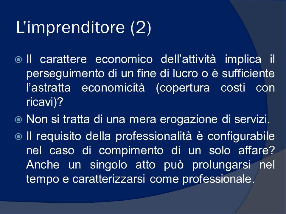 Limprenditore (2) Il carattere economico dellattività implica il perseguimento di un fine di lucro o è sufficiente lastratta economicità (copertura co
