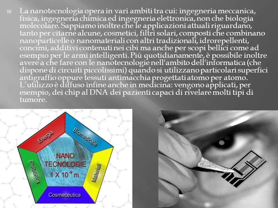 La nanotecnologia opera in vari ambiti tra cui: ingegneria meccanica, fisica, ingegneria chimica ed ingegneria elettronica, non che biologia molecolar