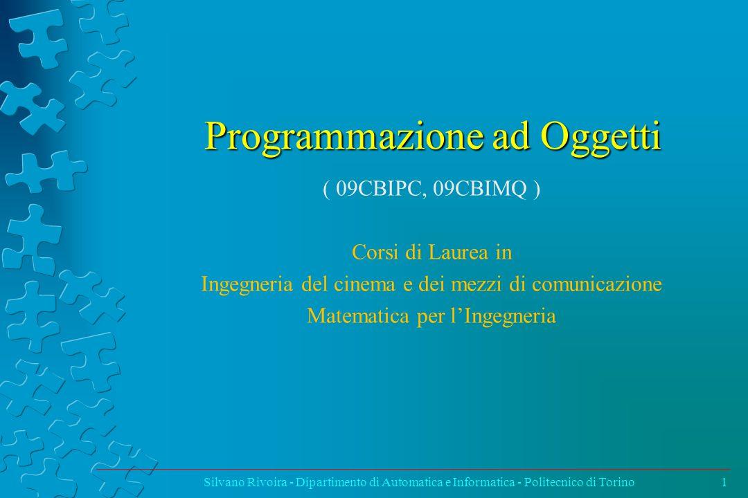 Obiettivi del corso Obiettivi Il corso ha lo scopo di introdurre i concetti base della programmazione ad oggetti dal punto di vista dellingegneria del software.